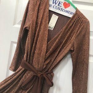 NWT bronze low cut wrap dress